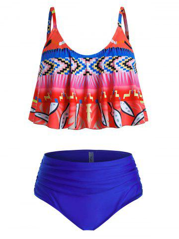 Plus Size Ruched Print High Waisted Tankini Swimwear