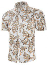 Baroque Print Button Up Short Sleeve Shirt -