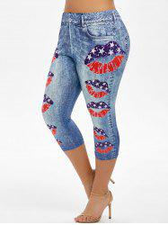 Plus Size American Flag Lip Print Capri Jeggings -