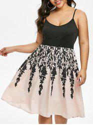 Plus Size Lace Print Fit and Flare Dress -