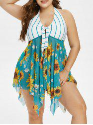 Plus Size Halter Handkerchief Sunflower Print Stripe Tankini Swimwear -