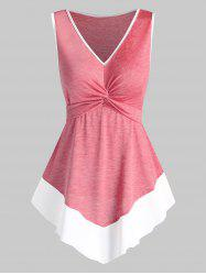 Twist Front Pointed Hem Contrast Flare Tank Top -