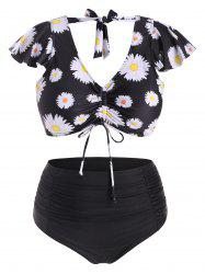 Cinched Front Tie Back Daisy Print Plus Size Two Piece Swimsuit -