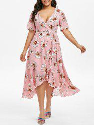 Plus Size Plunge Split Sleeve Ruffled Floral Dress -