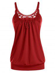 Plus Size U Neck Lace Splicing Ruched Tank Top -