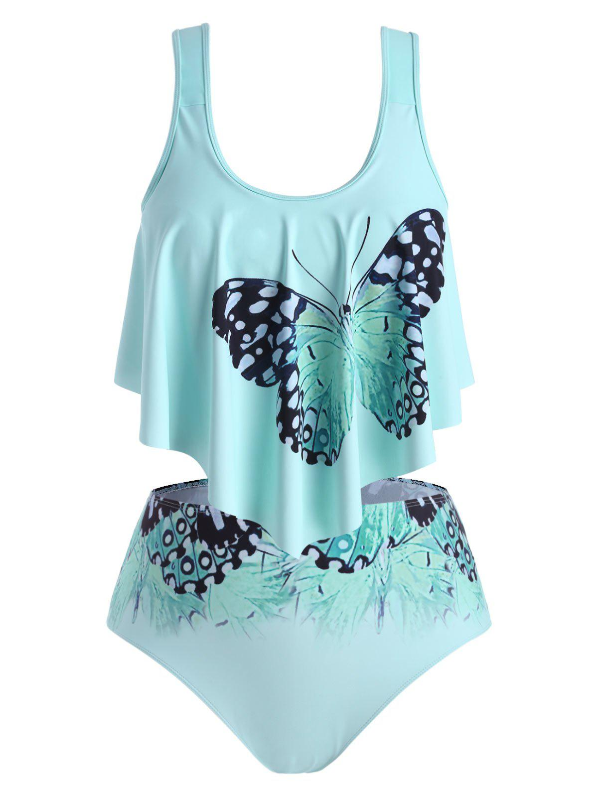 Buy Flounces Strappy Butterfly Plus Size Tankini Swimwear