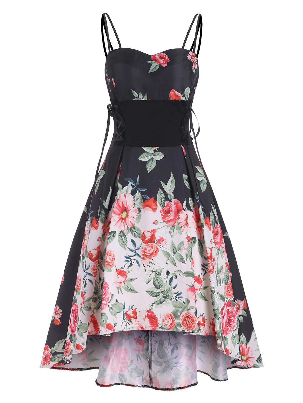 Sale Floral Print Lace Up Dip Hem Party Dress