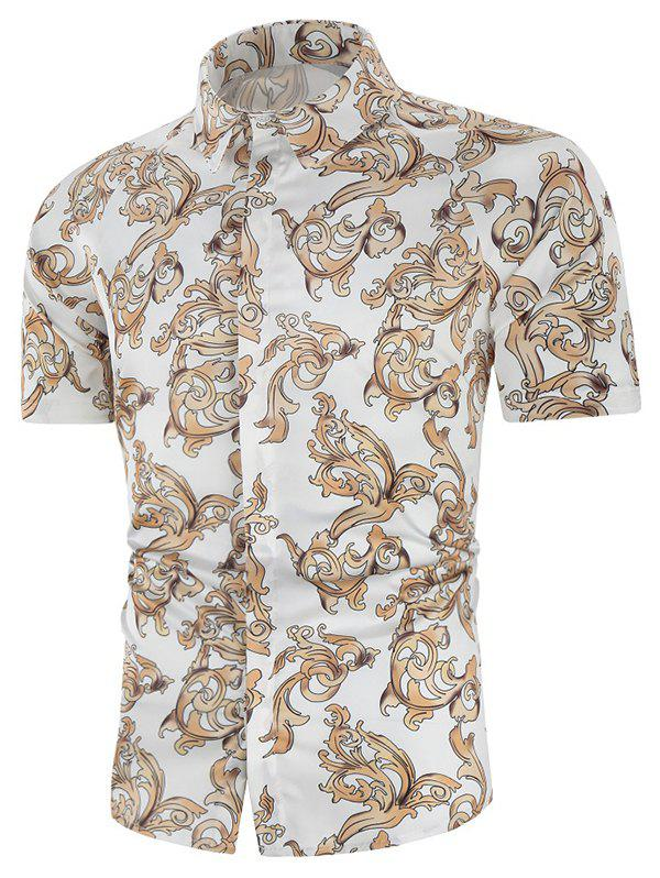 Outfits Baroque Print Button Up Short Sleeve Shirt
