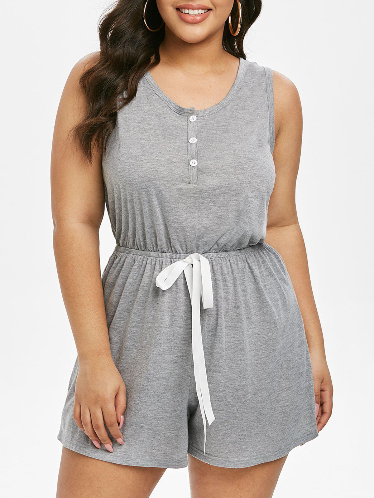 Outfits Plus Size Sleeveless Henley Romper