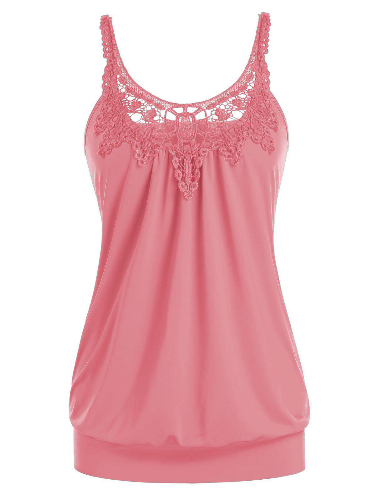 New Plus Size U Neck Lace Splicing Ruched Tank Top