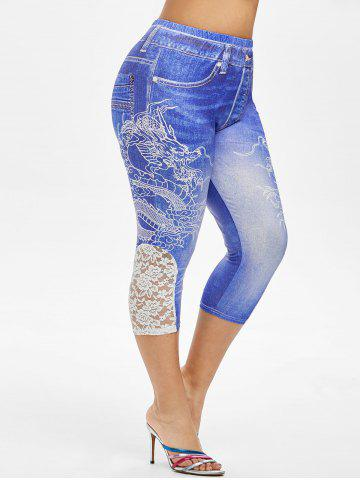 Plus Size Dragon 3D Print Lace Panel Capri Jeggings - DENIM DARK BLUE - 3X