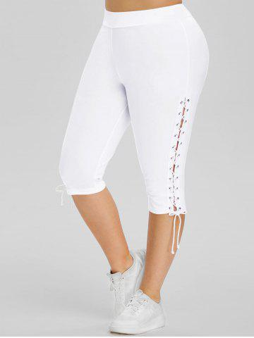 High Waisted Lace Up Side Plus Size Capri Pants - WHITE - 1X
