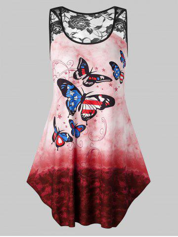 Plus Size Butterfly Printed Tie Dye Lace Insert Tank Top - CHERRY RED - 2X