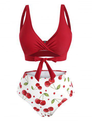 Knot Cherry Print Surplice Bikini Swimwear - LAVA RED - 2XL