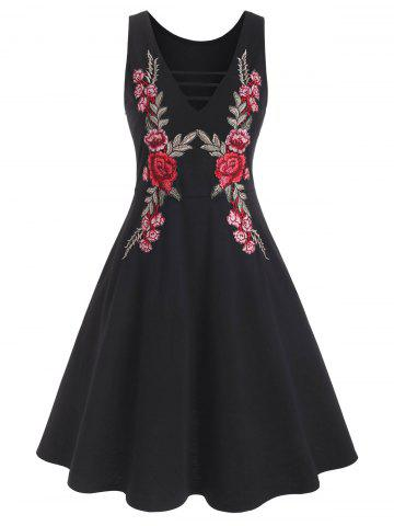 Ladder Cutout Floral Applique Sleeveless Dress