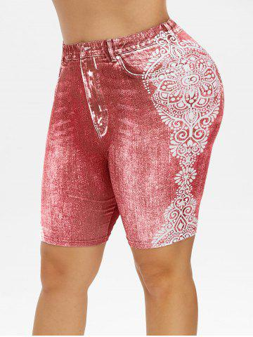 Plus Size 3D Jean Print Tribal Shorts