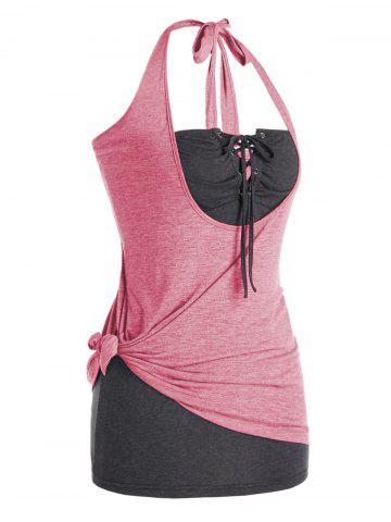 Plus Size Knotted Halter Top and Lace Up Tube Top Set - PINK - 5X