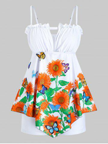 Plus Size Sunflower Butterfly Asymmetric Boxer Frilled Tankini Swimwear