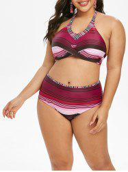 Plus Size Front Twist Stripe High Waist Bikini Set -