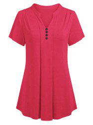 V Neck Buttoned Curved Casual Tee -