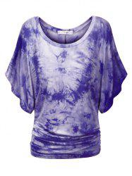 Plus Size Tie Dye Ruched Batwing Sleeve Top -