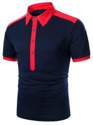 Two Tone Turndown Collar Button Short Sleeve T Shirt -