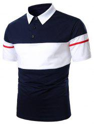 Colorblock Button Casual Short Sleeve Tee -