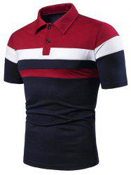 Colorblock Striped Half Button Short Sleeve T Shirt -