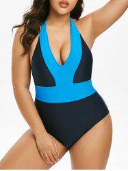 Plus Size Plunge Backless Colorblock One-piece Swimsuit -
