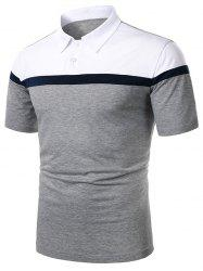Colorblock Turndown Collar Short Sleeve T Shirt -
