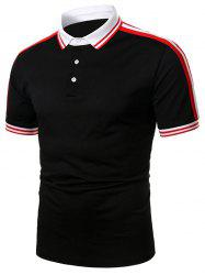 Striped Trim Turndown Collar Short Sleeve T Shirt -