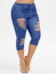 Plus Size 3D Ripped Jean Print Capri Jeggings -