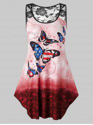 Plus Size Butterfly Printed Tie Dye Lace Insert Tank Top -