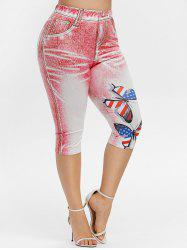 Plus Size Patriotic Butterfly Print Capri Jeggings -