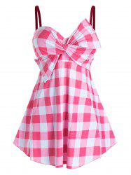 Plus Size Plaid Bowknot Twist Skirted Boyleg Tankini Swimwear -