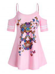 Plus Size Butterfly Cold Shoulder Tunic Tee -