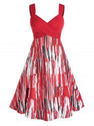 Plus Size Crossover Printed Midi Backless Dress -
