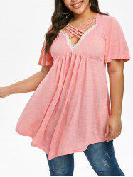 Plus Size Ruched Lace Insert Crisscross T Shirt -