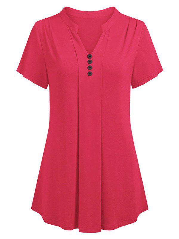 Store V Neck Buttoned Curved Casual Tee