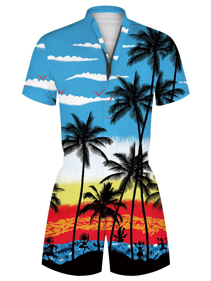Unique Hawaii Palm Tree Print Vacation Romper