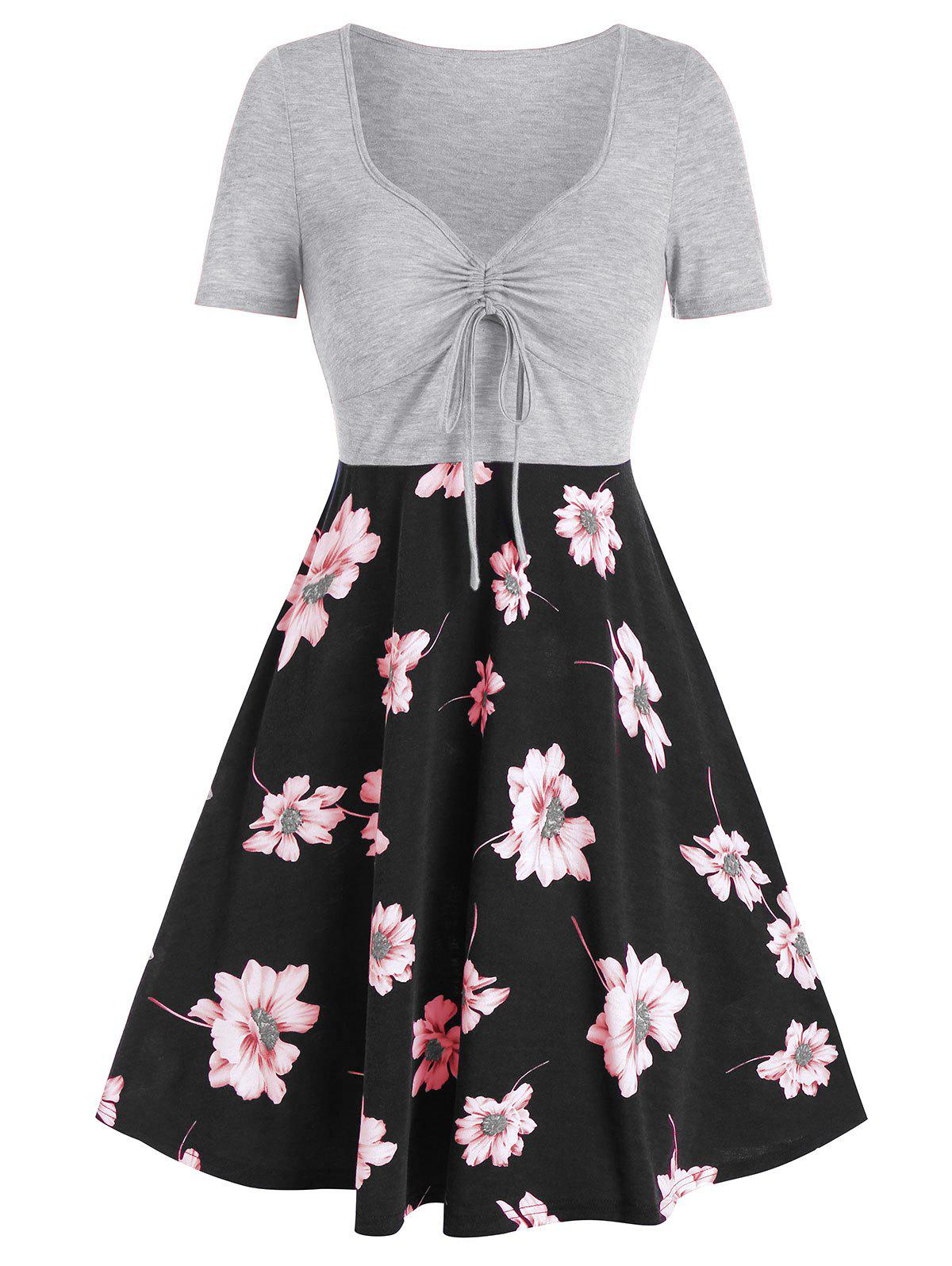 Buy Flower Print Drawstring Fit And Flare Dress