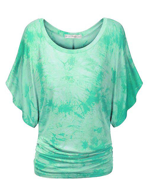 Hot Plus Size Tie Dye Ruched Batwing Sleeve Top