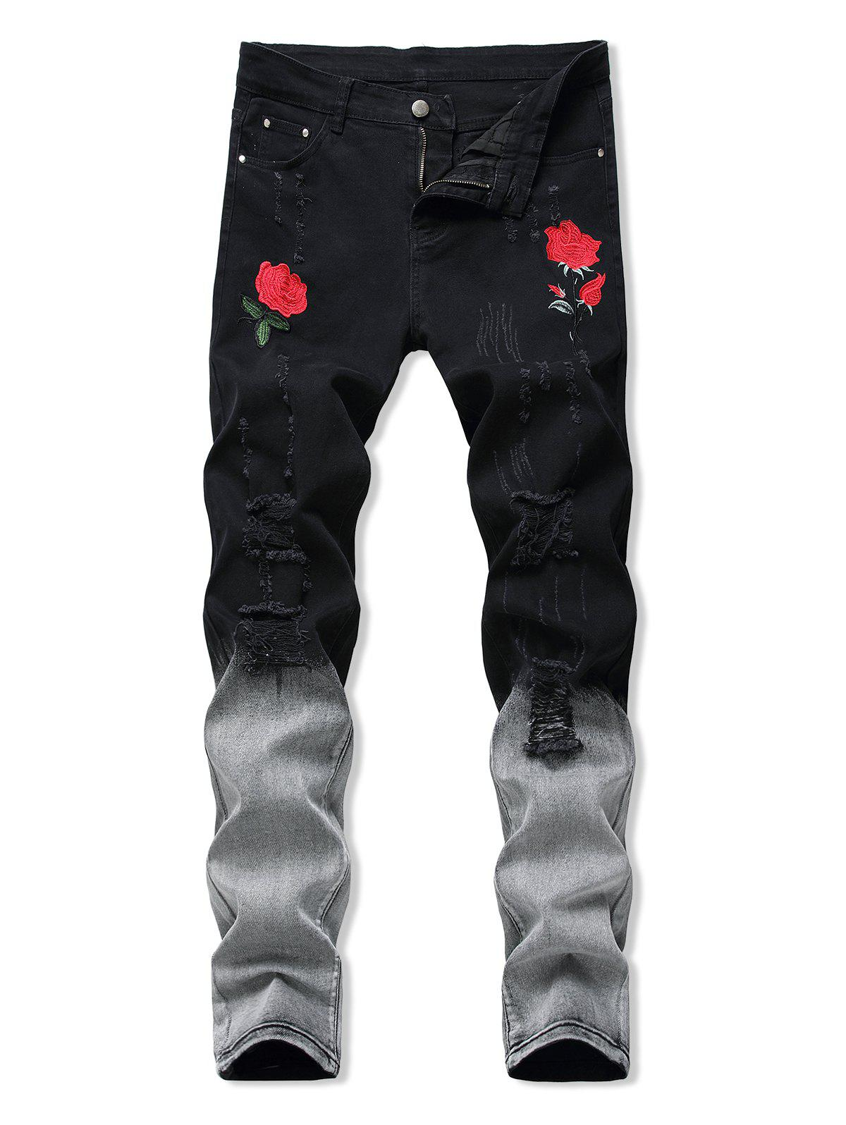 Best Floral Embroidery Ripped Design Jeans