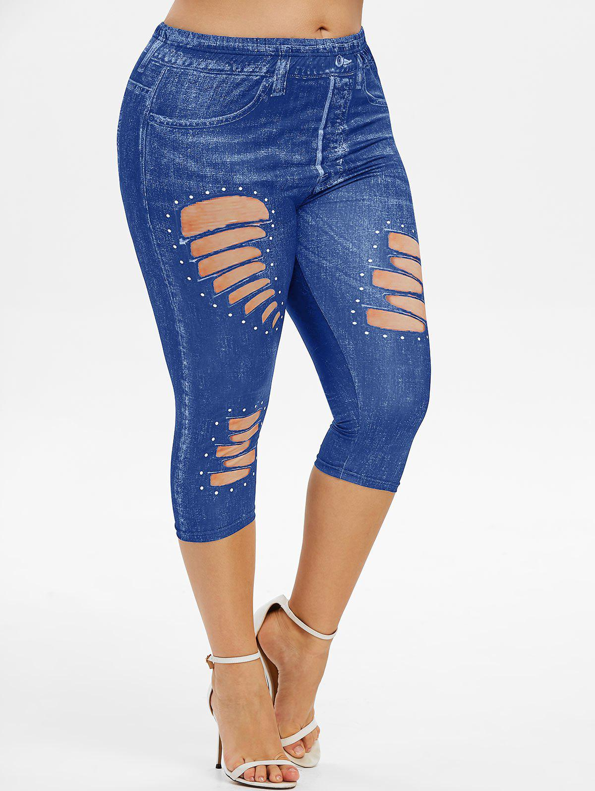 Affordable Plus Size 3D Ripped Jean Print Capri Jeggings