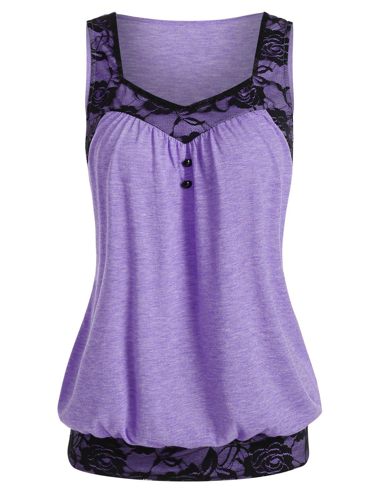 Affordable Lace Panel Button Embellished Blouson Tank Top