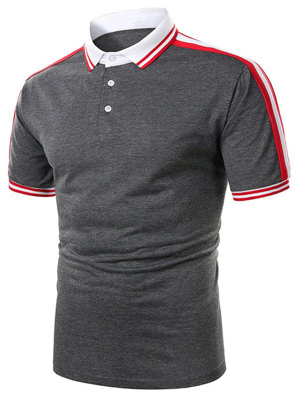 Sale Striped Trim Turndown Collar Short Sleeve T Shirt