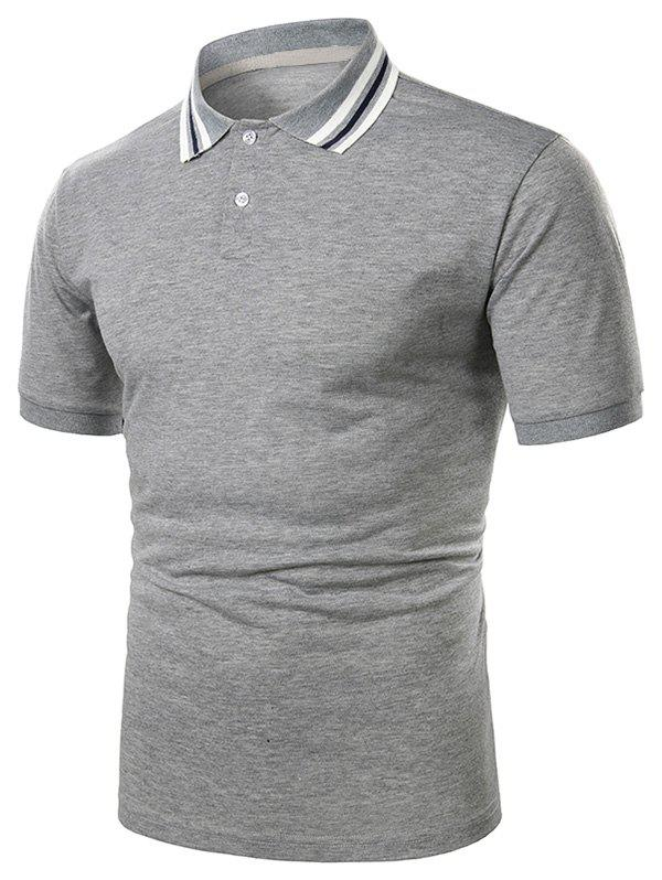 Outfits Striped Turndown Collar Short Sleeve Casual T Shirt