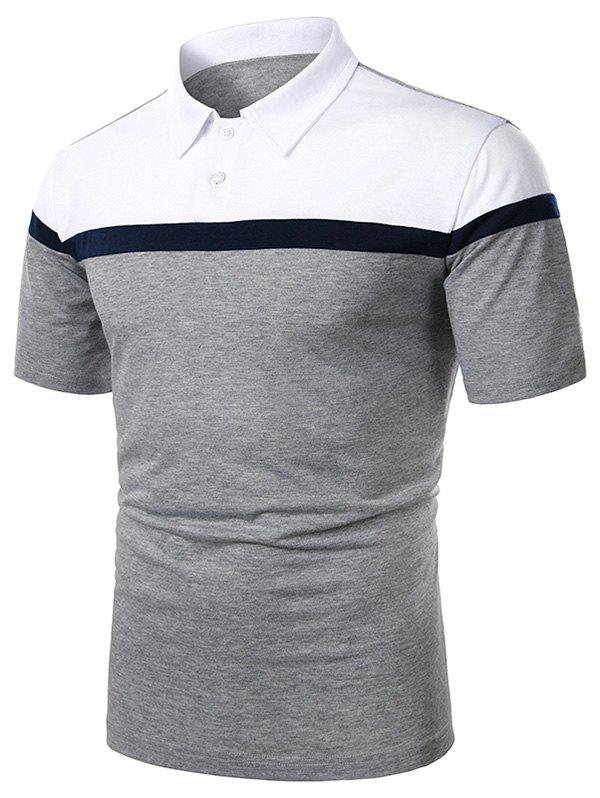 Shop Colorblock Turndown Collar Short Sleeve T Shirt