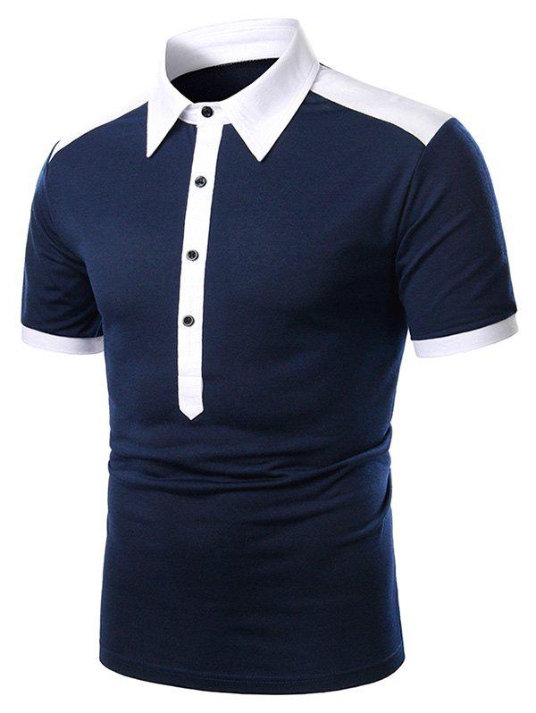 Cheap Two Tone Turndown Collar Button Short Sleeve T Shirt