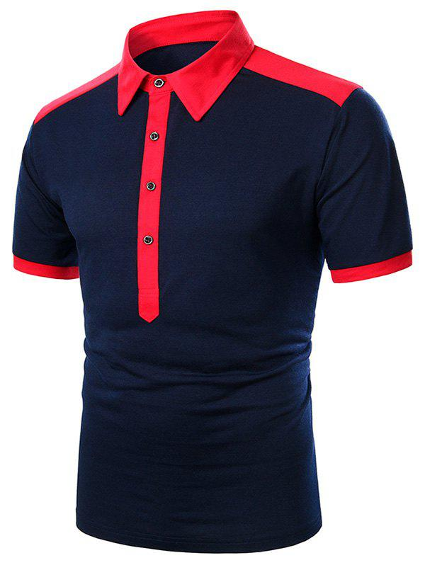 Best Two Tone Turndown Collar Button Short Sleeve T Shirt